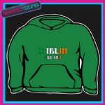EMBROIDERED DUBLIN IRELAND EMBLEM FLAG DESIGN THICK QUALITY ADULTS  HOODIE